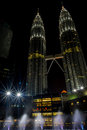 Petronas towers view of night kuala lumpur Stock Photos
