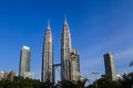 The petronas twin towers in kuala lumpur malaysia this famous landmark of malaysia are tallest buildings in world m Royalty Free Stock Photo