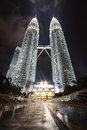 Petronas twin towers kuala lumpur malaysia oct at night on october in kuala lumpur were the tallest buildings Stock Photos