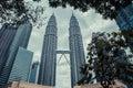 Petronas Twin Towers in Kuala Lumpur. Modern skyscraper architecture. Royalty Free Stock Photo