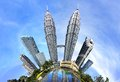 Petronas twin towers with the little planet effect at kuala lumpur malaysia Stock Photos
