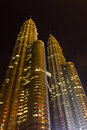 Petronas Twin Towers at night Royalty Free Stock Photos