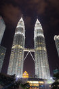 Petronas twin towers at night kuala lumpur in malaysia as seen from the park Stock Images