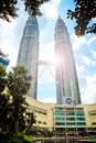 The Petronas Twin Towers and the shopping center Suria KLCC belo Royalty Free Stock Photo