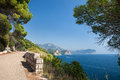 Petrovac montenegro seaside path on the coast in Royalty Free Stock Images
