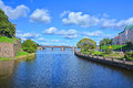 Petrovsky Bridge and Southern harbor at Vyborg Castle in Vyborg, Russia