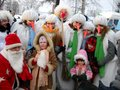 Petrozavodsk, Republic of Karelia / Russia - November 9, 2019: cheerful children and adults in bright colored costumes of snowmen