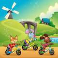 Pets are going for a ride in the countryside cartoon and vector illustration Stock Photography