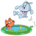 Pets with paddling pool cute cartoon cat and dog playing in white background Stock Photography