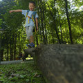 Pets perspective in woods looking up chinese kid playing on fallen tree trunk Royalty Free Stock Images
