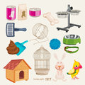 Pets shop set some cute vector stuff for Stock Photo