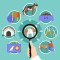 Pets Veterinary Round Concept