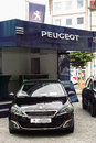 Peugeot presentation stand at a car show Stock Photo