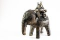 Pewter indian elephant sculpture white background Royalty Free Stock Photography
