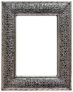 Pewter mirror frame cutout moroccan hewed isolated with clipping path Stock Photo
