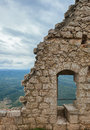 Peyrepertuse medieval Cathar castle. Royalty Free Stock Photography