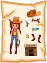 Pezzo di carta con un immagine di un cowgirl e di una barra di salone Fotografia Stock