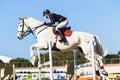 Pferd rider jump girl blue Lizenzfreie Stockbilder