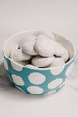 Pffernussen cookies in a blue dotty bowl