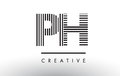 PH P H Black and White Lines Letter Logo Design.
