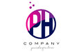 PH P H Circle Letter Logo Design with Purple Dots Bubbles