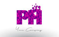 PH P H Dots Letter Logo with Purple Bubbles Texture.