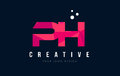 PH P H Letter Logo with Purple Low Poly Pink Triangles Concept