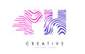 PH P H Zebra Lines Letter Logo Design with Magenta Colors