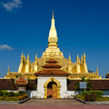 Pha That Luang stupa in  Vientiane, Laos. Royalty Free Stock Photo