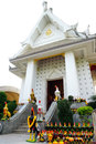 Phan Thai Norasing Shrine is regarded as the symbol of honesty by the local people. Many visitors come here to worship and give of Royalty Free Stock Photo