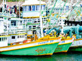 Phangnga thailand march fishing boats park at kuraburi je jetty on in Royalty Free Stock Photography