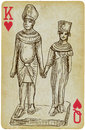 Pharaoh with his wife playing card the drawn figure the rulers of egypt description drawing consists of at least of two Stock Image