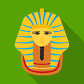 Pharaoh`s golden mask icon in flat style isolated on white background. Ancient Egypt symbol stock vector illustration.
