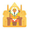 Pharaoh sitting on throne cartoon design