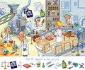Pharmaceutical factory. Find 15 objects in the picture