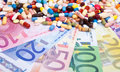 Pharmaceuticals on euro notes various Royalty Free Stock Photography
