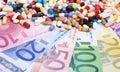 Pharmaceuticals on euro notes Royalty Free Stock Photo