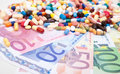Pharmaceuticals on euro notes various Royalty Free Stock Images