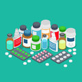 Pharmaceutics pharmacy drug store pills flat 3d isometric vector Royalty Free Stock Photo
