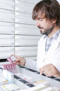 Pharmacist at the drawers portrait of a young male looking for a box of medicaments from a drawer focus on face Stock Photos
