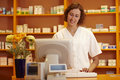 Pharmacist in the internet Royalty Free Stock Image