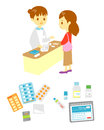 Pharmacist s office and patient medical supplies advising Royalty Free Stock Images