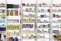 Pharmacy cabinets with medicines and drugs tablets and food additives Royalty Free Stock Photo