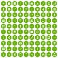 100 pharmacy icons hexagon green