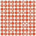 100 pharmacy icons hexagon orange