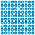 100 pharmacy icons set blue