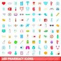 100 pharmacy icons set, cartoon style
