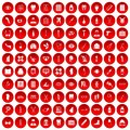 100 pharmacy icons set red