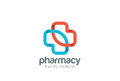 Pharmacy Logo eco green cross design vector template.Clinic Medicine Logotype concept icon Royalty Free Stock Photo