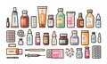 Pharmacy, medication, bottles, pills, capsules set icons. Drugstore, medicine, hospital concept. Vector illustration in Royalty Free Stock Photo
